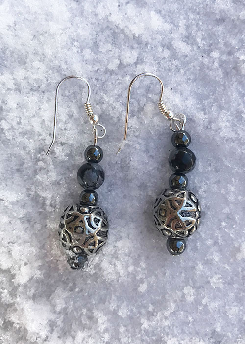 Celtic Snowflake Obsidian Earrings