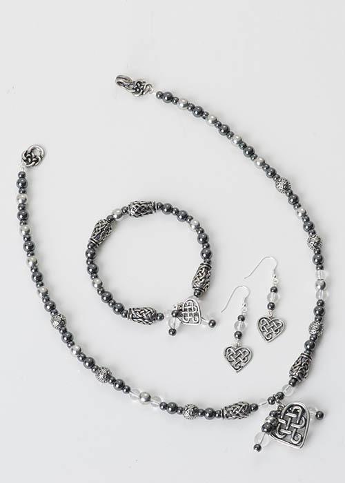 Rock Crystal Heart Jewelry Set
