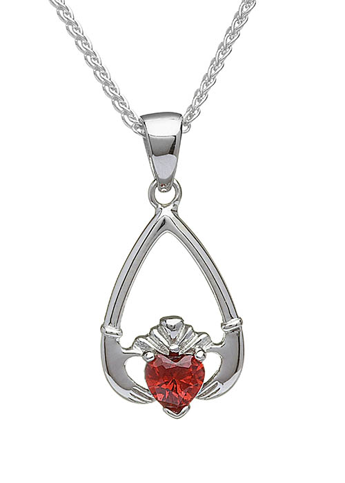 January-Garnet Claddagh Pendant