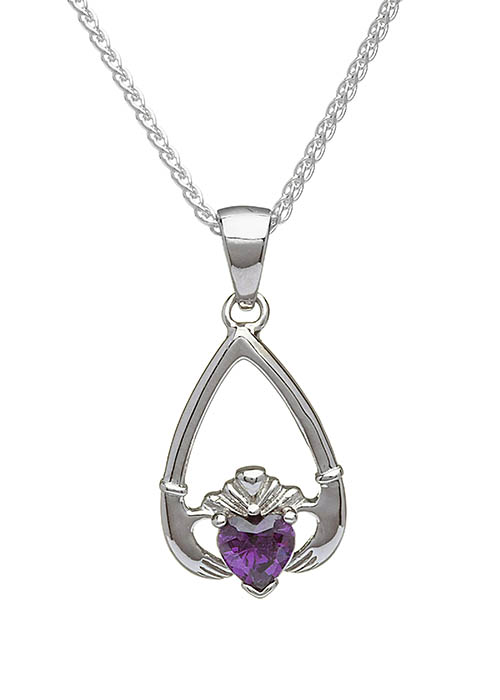 February-Amethyst Claddagh Pendant