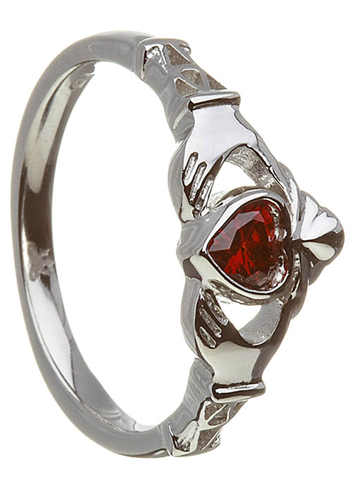 January-Garnet Claddagh Ring