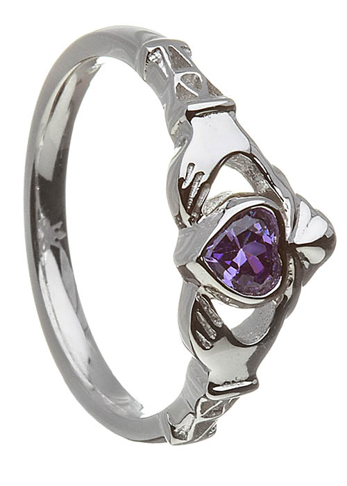 February-Amethyst Claddagh Ring
