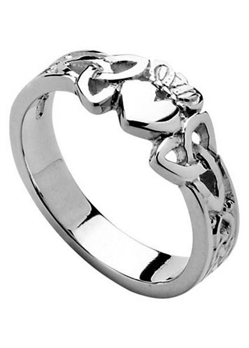 Sterling Silver Trinity Knot Claddagh Ring
