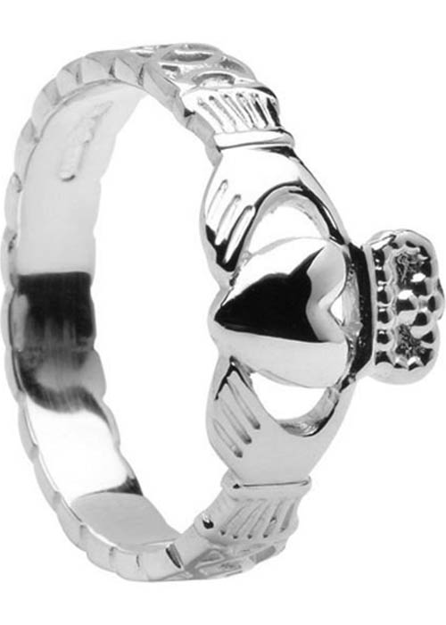 Ladies Sterling Silver Rope Claddagh Ring