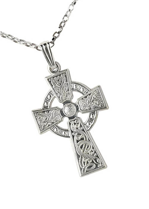 Celtic Cross Sterling Silver Warrior Shield Pendant