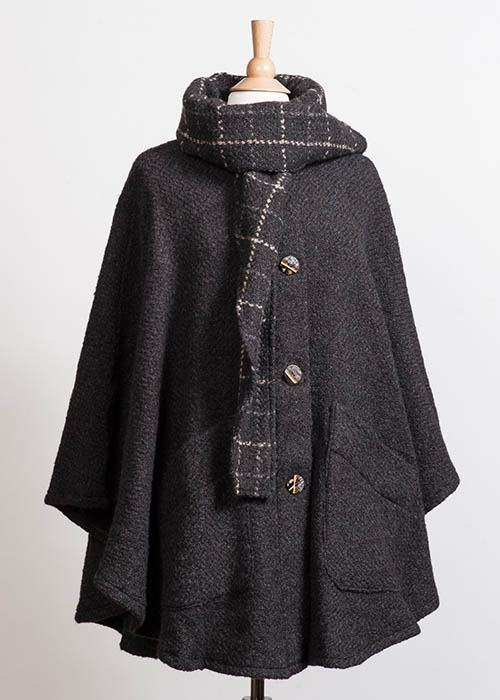 Wool Tweed Cape - Charcoal
