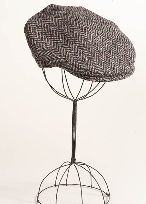 Irish Tweed Cap - Black Herringbone