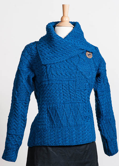 Women's Irish Wool Sweater - One Button Blue