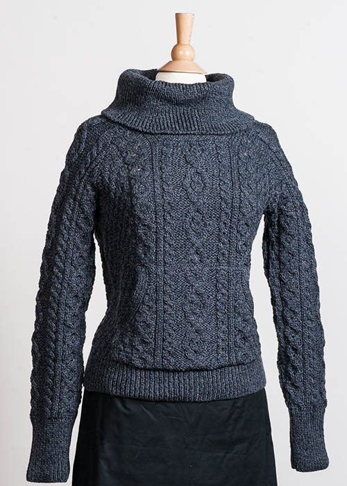 Women's Irish Wool Sweater - Rollneck Charcoal
