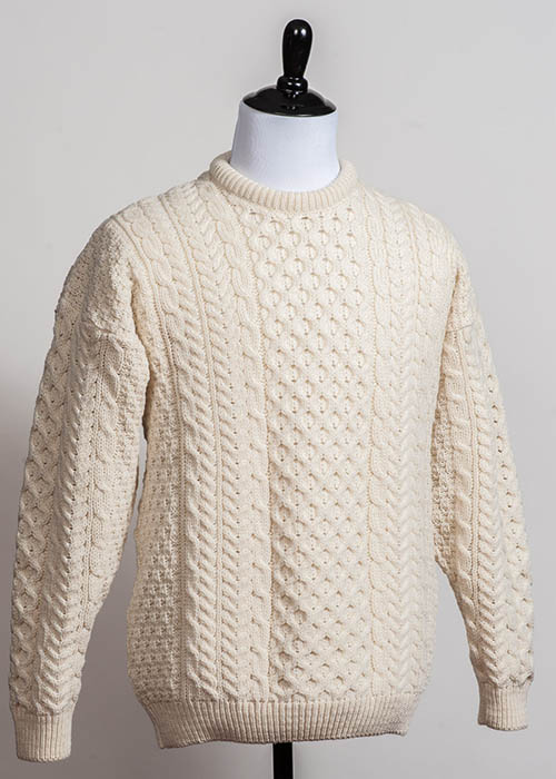 Men's Wool Sweater - Traditional Aran