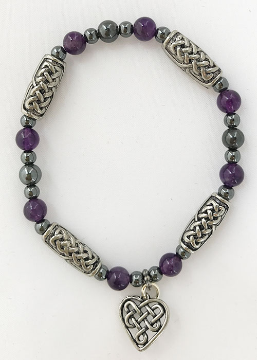 Celtic Bracelet Amethyst with Heart
