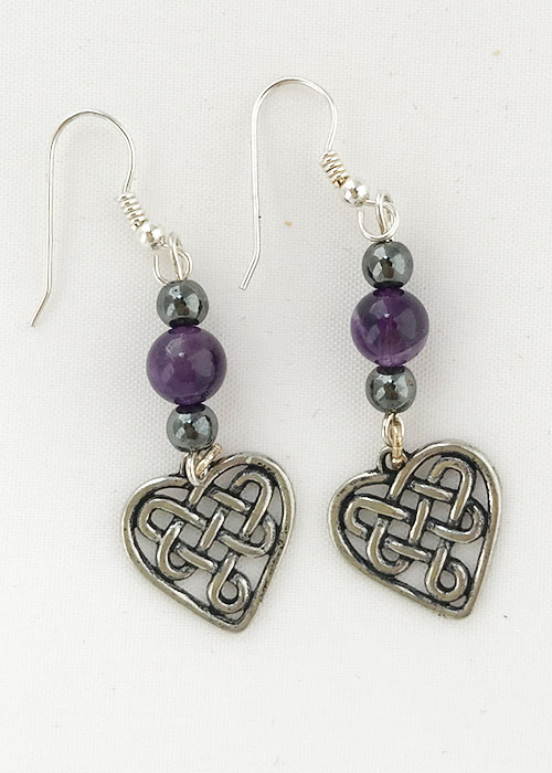 Celtic Earrings Amethyst with Heart