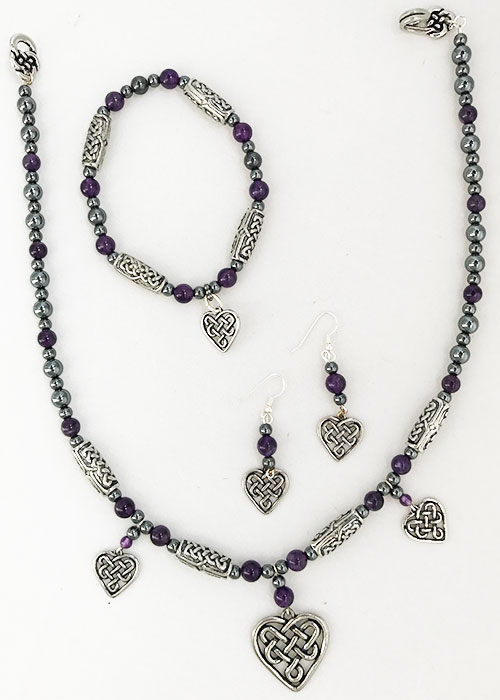 Celtic Jewelry Amethyst Heart Set