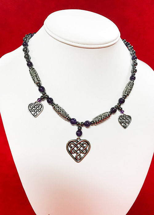 Celtic Necklace Amethyst Heart
