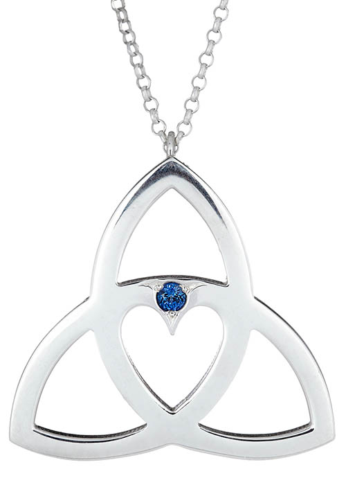 Trinity Heart Pendant with Birthstone