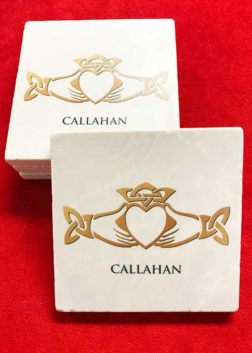 Claddagh Personalized Stone Coaster Set