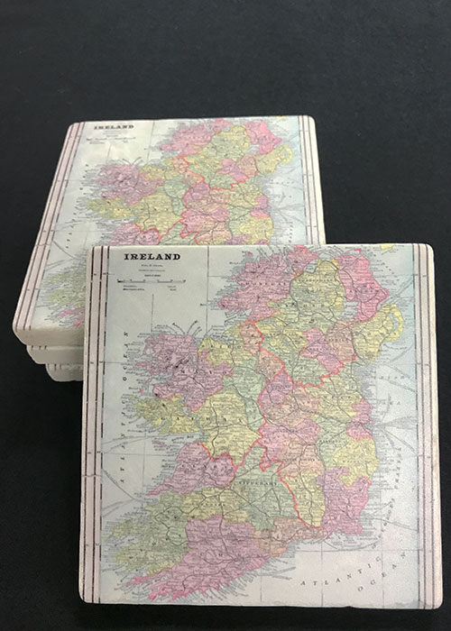 Map of Ireland Marble Drink Coaster Set