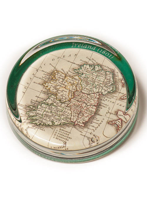 Antique 1801 Irish Map Paperweight Reproduction