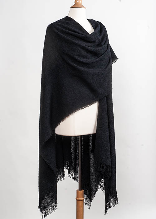 Superfine Lambswool Cape/Ruana - Black