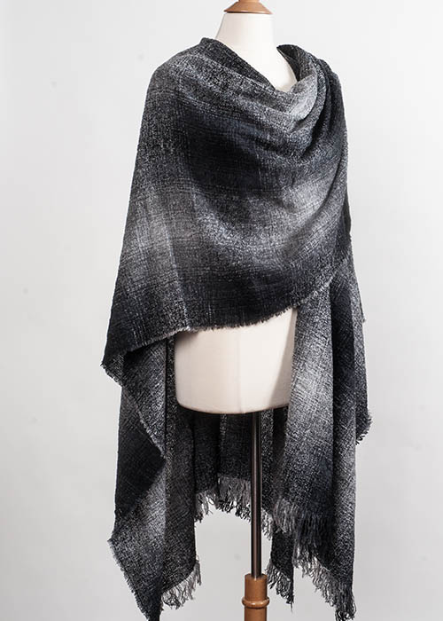 Superfine Lambswool Cape/Ruana-Charcoal