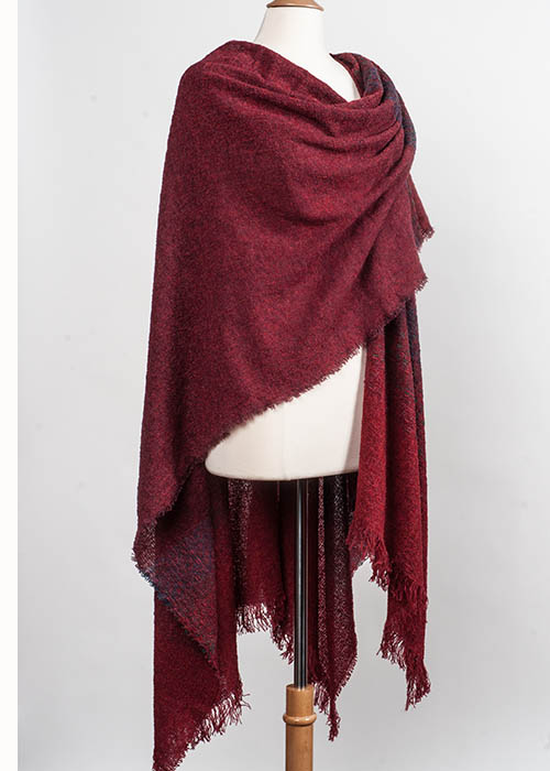 Superfine Lambswool Cape/Ruana - Red