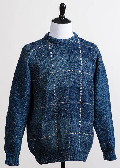 Men's Wool Sweater - Blue Tartan