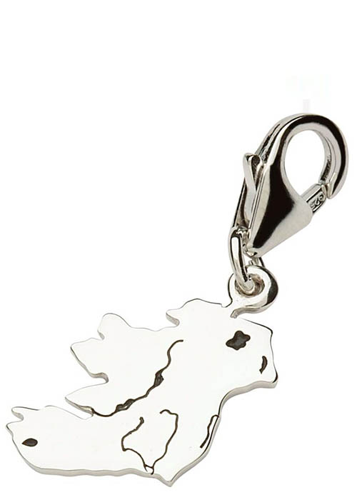 Tara's Diary Sterling Ireland Map Charm