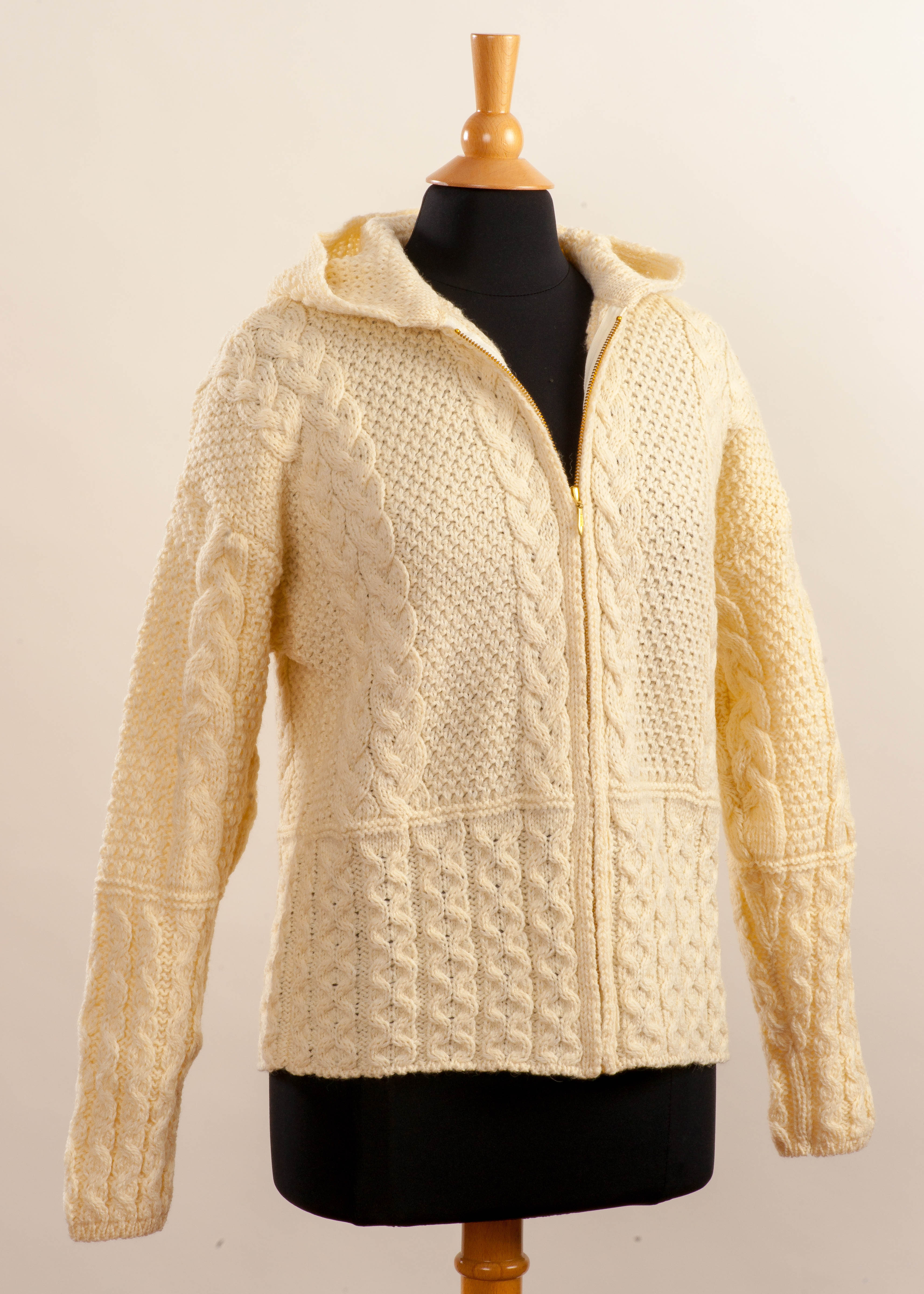 Women's Irish Wool Aran Zip Cardigan - Natural