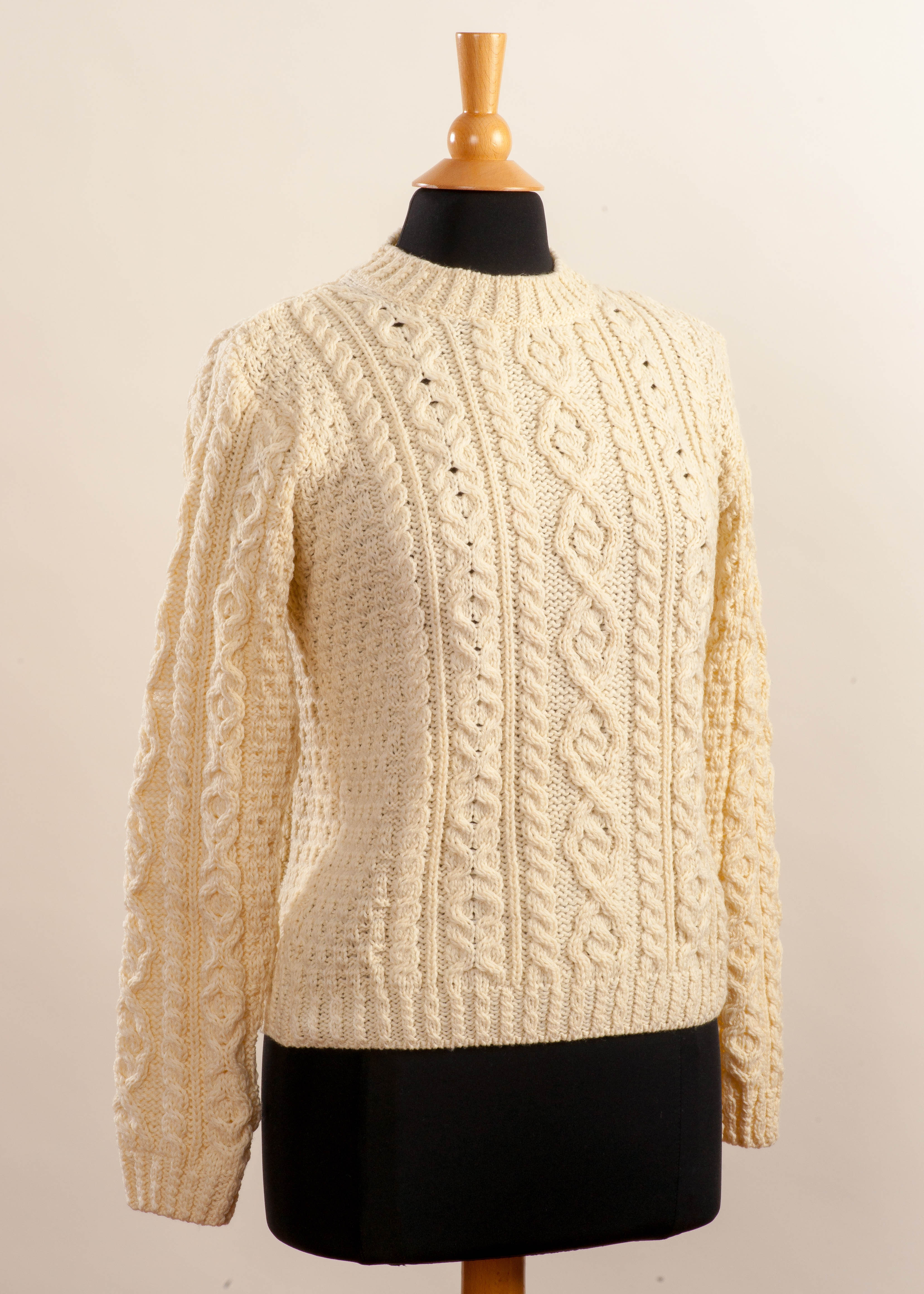 Women's Irish Wool Sweater - Traditional Aran
