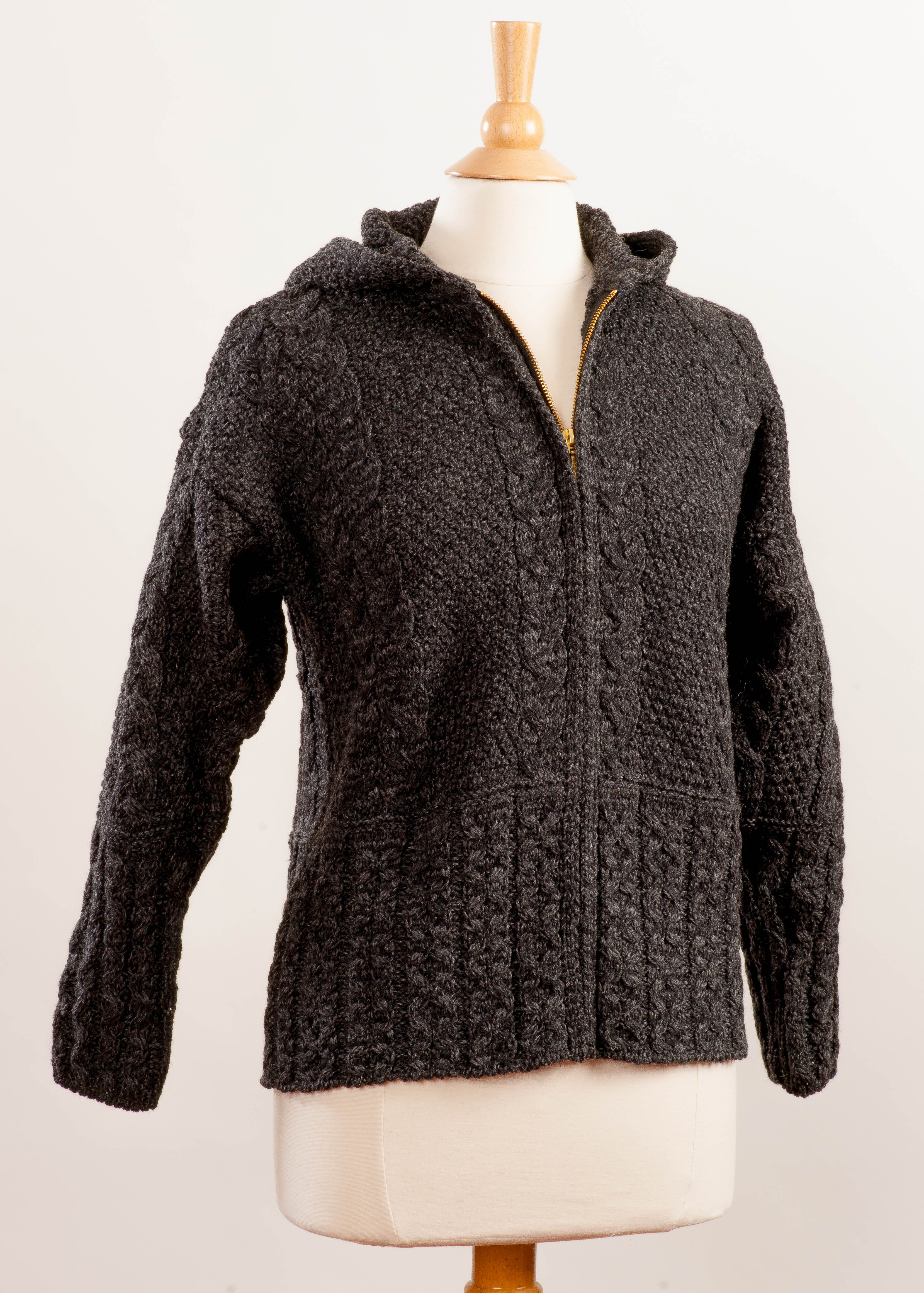 Women's Irish Wool Aran Zip Cardigan - Charcoal Grey